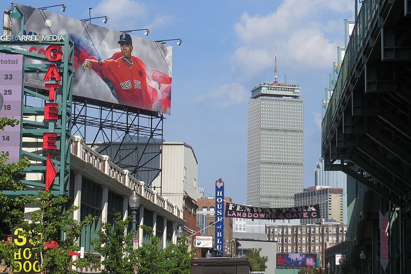 Fenway_Park_Promenade_with_view_of_the_Prudential_Building,_Boston,_Mass